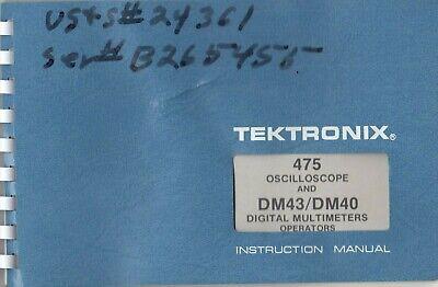 Tektronix 475 Dual Trace 200mhz Portable Oscilloscope Orig. Instruction Manual