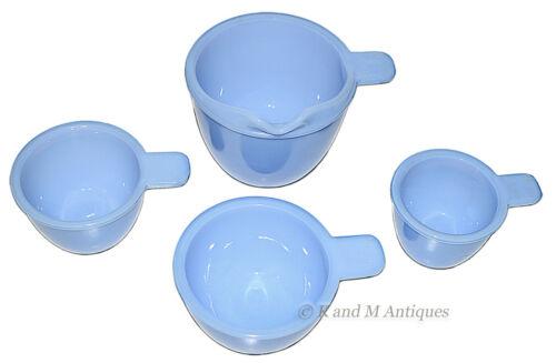 Jeannette Delfite /Delphite Depression Glass X-46 4 Piece Measuring Cup Set