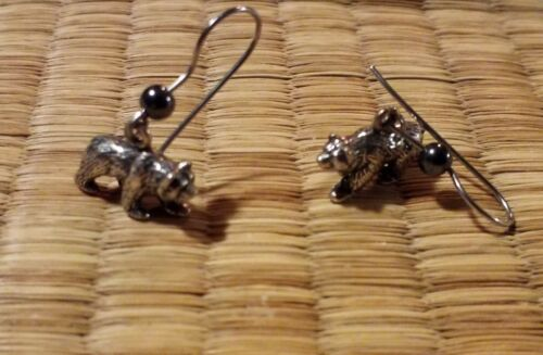 Bear Shaped Sterling Silver Dangle Earrings W/ Hematite Bead Animals Nature Wild - $14.95