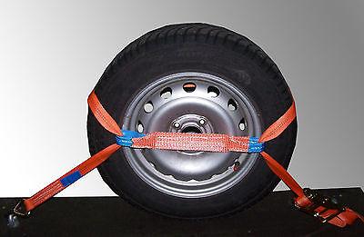 4x Spanngurt AUTO TRANSPORT Zurrgurt Radsicherung PKW KFZ Reifengurt Trailer (3)