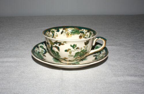 MASONS IRONSTONE CHARTREUSE GREEN CUP & SAUCER ENGLAND