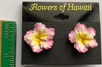 Hawaiian Tropical Flower Earrings Pink Hibiscus Poly Resin Hawaii Jewelry - Tropical Flower
