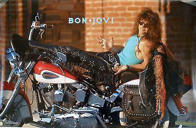 RARE JON BON JOVI HARLEY 1989 VINTAGE ORIGINAL MOTORCYCLE MUSIC POSTER