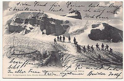 Litho Ak Glärnischgletscher & Bächistock Bergsteiger Schweiz Ambulant 1903 !