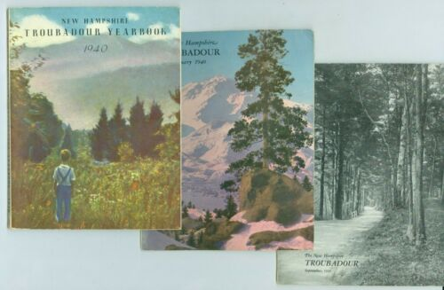 3 1936-1940 State of New Hampshire Troubadour Monthly Tourist Booklets