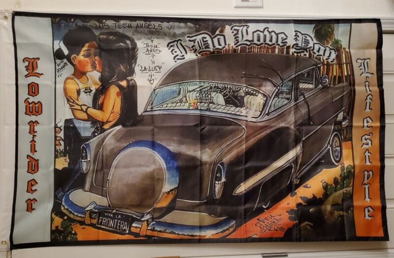 Lowrider Art 3x5 Flag I Do Love You Chicano Style Lowrider Lifestyle Teen Angel