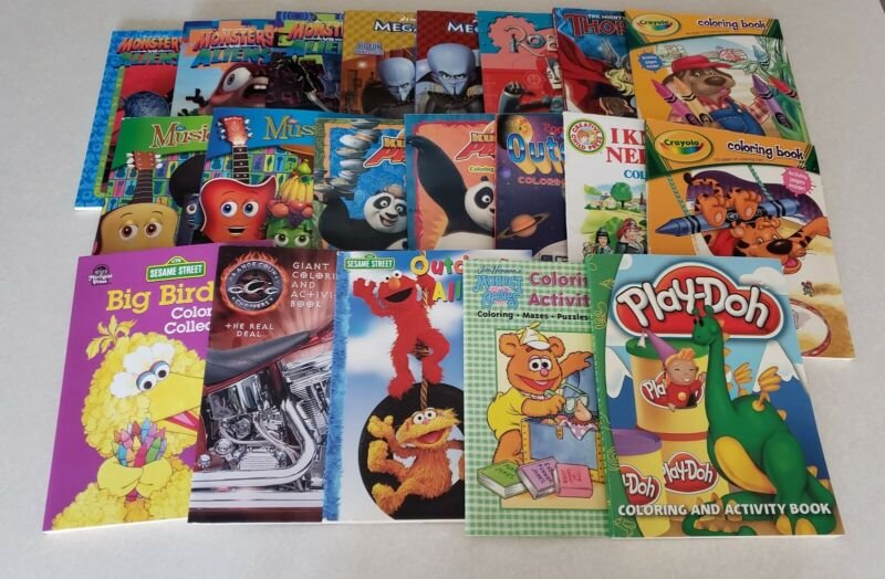 Lot of 20 Coloring Books Megamind, Kung Fu Panda, Monsters vs Aliens & More