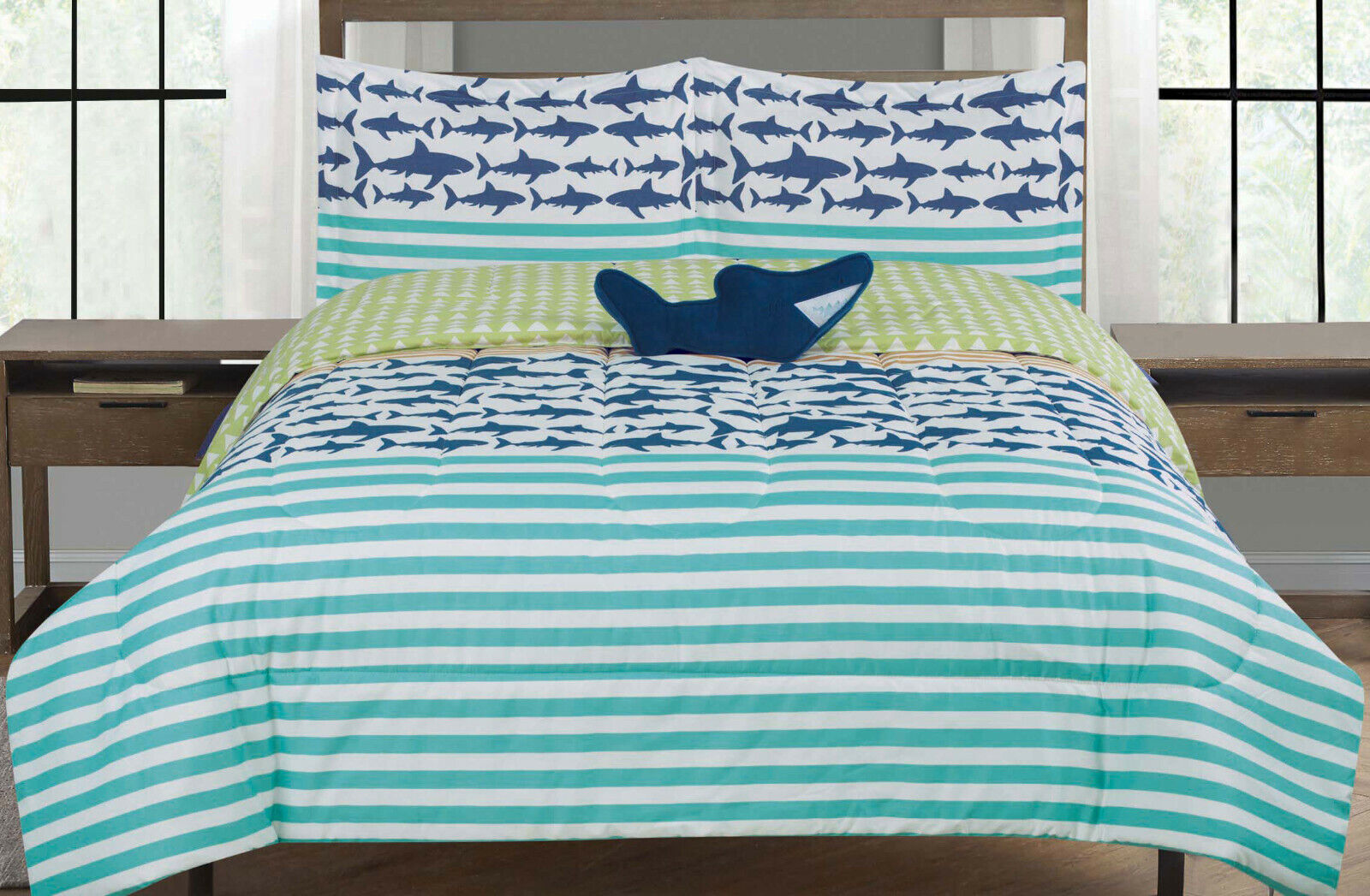 Shark Twin or Full Size Comforter Bedding Set Kid Stripes, Blue White and Green Bedding