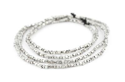Silver Faceted Diamond Cut Beads 3mm White Metal Large Hole 24 Inch Strand ()