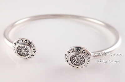 Genuine Pandora Signature Open Bangle Bracelet 590528Cz Pick Sz New W Packaging