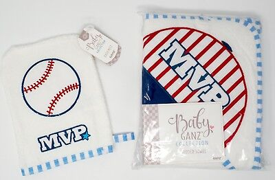Baby Boy Hooded Bath Towel & Mitt Baseball NWT 100% Cotton Ganz MVP 30 x 30