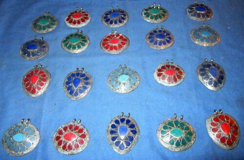 "WHOLESALE LOT07 20 Pendants Gemstone Afghan Kuchi Tribal Alpaca Silver 1 1/2"""
