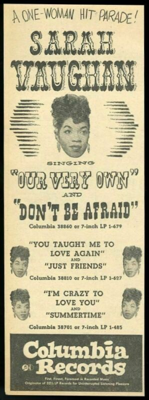 1950 Sarah Vaughan 5 photo Our Very Own record release Columbia trade print ad