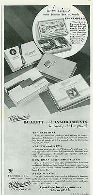1934 MINT VINTAGE AD FOR THE FAMOUS WHITMAN SAMPLER