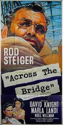 ACROSS THE BRIDGE 1957 Rod Steiger ERIC PULFORD Graham Greene UK 3-SHEET POSTER