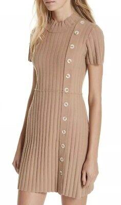 NEW Free People Lotti Ribbed Sweater Dress Size Medium Tan