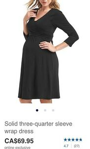 Gap Maternity wrap dress black Medium
