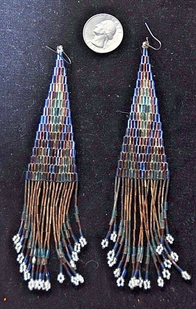 "Real Native American Beadwork Navajo Beaded Earrings -5-1/2 "" 1"