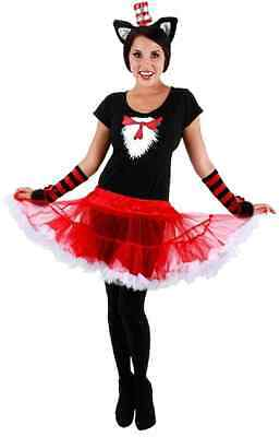 Cat in the Hat Tutu Dr Seuss Cartoon Fancy Dress Up Halloween Adult Costume (Cat In The Hat Tutu Costume)