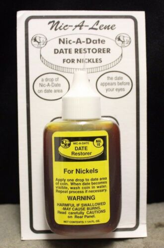 Nic-A-Date Date Restorer For Nickels Restore Buffalo Coin Acid Bottle NIC A DATE