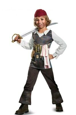 Jack Sparrow Costume For Boys (Captain Jack Sparrow Pirates of the Caribbean Boys Pirate Costume Large)