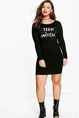 Boohoo Plus Charl Teen Witch Halloween Bodycon Dress UK 20 JS001 GG...