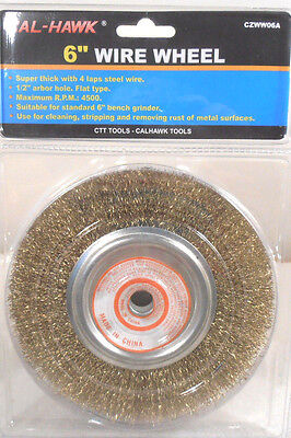 """6""""  INCH WIRE WHEEL BRUSH 1/2"""" ARBOR HOLE SUPER THICK BRUSH USE BENCH GRINDER"""