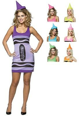 Crayon Tank Crayola Retro Fancy Dress Up Halloween Sexy Adult Costume 7 COLORS