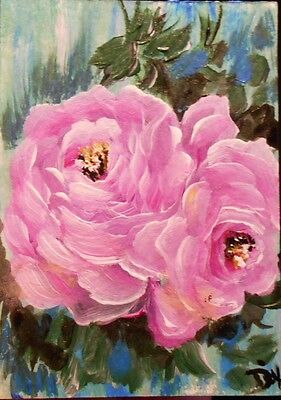 ACEO ORIGINAL PAINTING Dixie Art Card PINK CHIC ROSES IMPRESSIONISM SHABBY LUSH