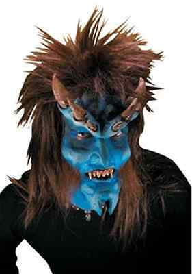Brimstone Blue Demon Devil Fancy Dress Halloween Costume Makeup Latex Prosthetic - Blue Devil Costume