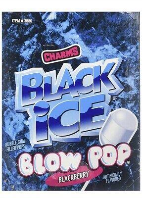 Charms Blow Pops Black Ice Blackberry Candy Pop Bulk Sucker Lollipops 48 ct Box](Black Lollipops)