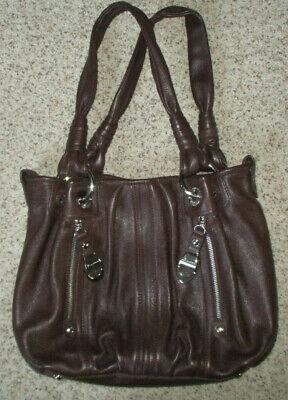 B Makowsky Leather Purse Handbag Brown w Silver Hobo Satchel Shoulder Hand Bag
