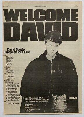 DAVID BOWIE 1978 vintage POSTER ADVERT EUROPEAN CONCERT TOUR Low Heroes Isolar