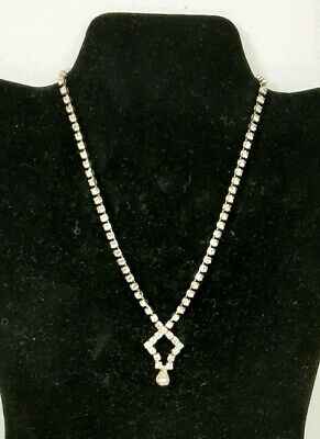 1930s Art Deco Style Jewelry Vintage Estate Diamond 1930s Necklace Glass Crystal Rhinestone Choker 14