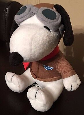 Pair Charles Schulz Flying Ace   Tech Snoopy Metlife Plush Set   2   6  Tall New