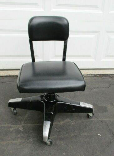 Vintage Industrial Office Desk Chair Mid Century Modern Propeller Black Wells
