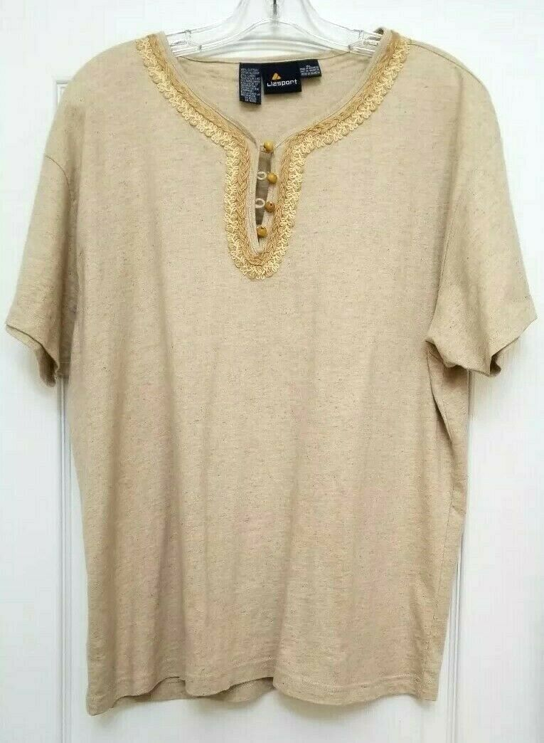 Women's Liz Claiborne Lizsport Natural Tee Top - NWOT - XL -