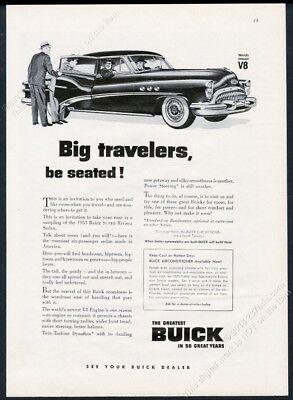 1953 Buick Super Riviera Sedan car b&w illustrated vintage print ad