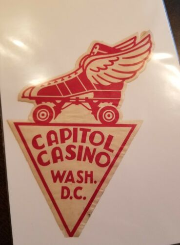 Vintage 1930-1950 Era Decal Capitol Casino Roller Skating Washington DC - $15.99