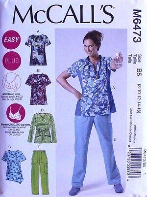 Misses SCRUBS TOPS & PANTS McCall's PATTERN 6473 Uniform Size 8-16 NEW