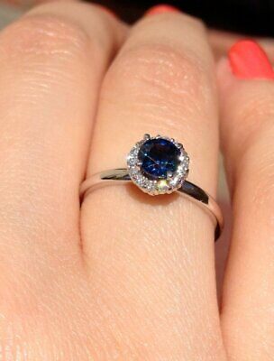 2Ct Round Brilliant Cut Blue Sapphire Halo Engagement Ring 14K White Gold Finish ()