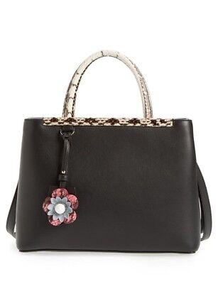 Fendi Women's 2 Jours Petite Snakeskin-Trim Satchel Bag, Black, MSRP $2,600