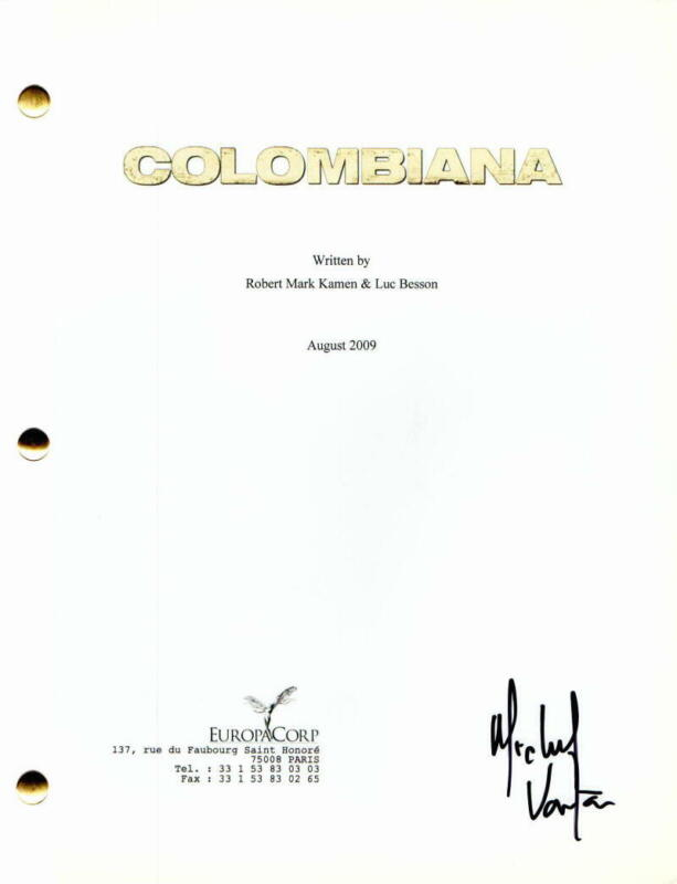 MICHAEL VARTAN SIGNED AUTOGRAPH - COLOMBIANA FULL MOVIE SCRIPT - ZOE SALDANA