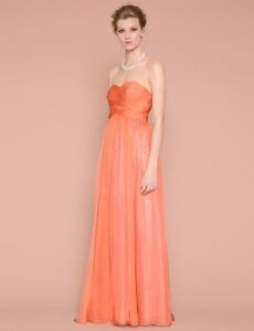 Coral strapless formal/bridesmaid dress