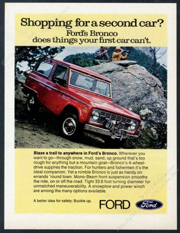 1971 Ford Bronco red SUV photo vintage print ad