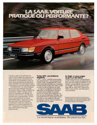 1984 SAAB 900 Turbo APC Vintage Original Print AD Red car photo French Canada for sale  Quebec