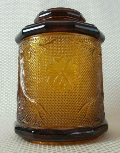 Large Vintage Lidded Amber Glass Apothecary Jar - Ornate Design & Gorgeous Color