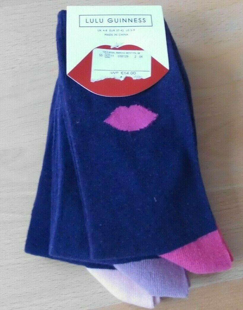 LULU GUINNESS 3 PAAR Socken Socks Damen hoher Baumwollanteil Gr. 37-42 neu