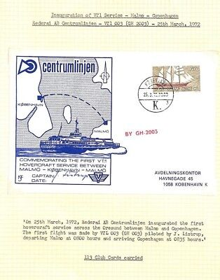 BC257 1972 DENMARK *Inaugural Hovercraft Service* Postcard SIGNED CAPTAIN Page