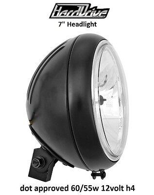 Hard Drive Motorcycle Headlight Black Assembly 12v 60/55w H4 7